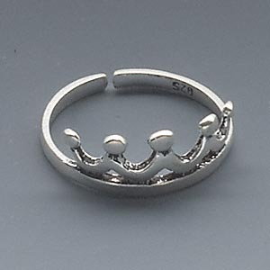 toe ring, sterling silver, 13x7mm crown design, adjustable. sold individually.