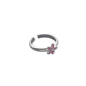 Sterling Silver with Enamel Pink and Purple Flower Design Toe Ring cPkAeq