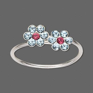 toe ring, sterling silver and glass rhinestone, aqua and ruby red, 1mm wide with 5mm flower, adjustable. sold individually.