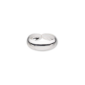 toe ring, sterling silver, plain band, adjustable. sold individually.