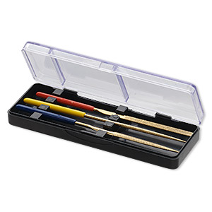 tool, steel files with diamond coating and plastic-coated handles, 3-9/10 inch 3-piece set in 4x1-1/2x1/2 inch plastic case. sold per set.