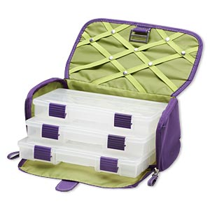 tote, plano creative options and craft locker™, polyester and plastic, royal purple and avocado green, 10-1/4 x 5-1/2 x 5-1/2 inches with zipper and buckle closure. sold individually.