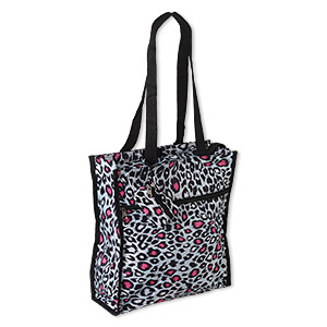 tote, polyester and nylon, black / white / hot pink, 13 x 12 x 4 inches with leopard print design, velcro and zipper closure, 12-inch arm straps and detachable 3-1/2 x 2-1/2 inch coin purse. sold individually.