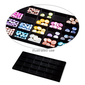 tray insert, flocked velveteen, black, 14 x 7-3/4 x 1/2 inches with (24) 2-1/8 x 1-5/8 inch compartments. sold per pkg of 2.
