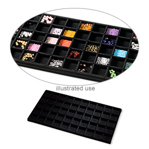 tray insert, flocked velveteen, black, 14 x 7-3/4 x 1/2 inches with (50) 1-1/4 x 1-1/4 inch compartments. sold per pkg of 2.