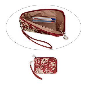 wallet, silk damask with silver-plated steel and pewter (zinc-based alloy), burgundy and gold, 6-1/2 x 4-1/4 inch rectangle wristlet with bird and floral design. sold individually.