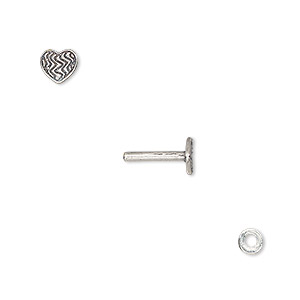 washer and brad, antique silver-plated brass, 4x0.7mm and 10x6mm with 6x5mm heart with line design and 1.5mm post diameter. sold per pkg of (2) 2-piece sets.