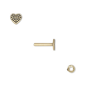 washer and brad, antiqued brass, 4x0.7mm and 11x6mm with 6x5.5mm heart with dot design and 1.5mm post diameter. sold per pkg of (2) 2-piece sets.