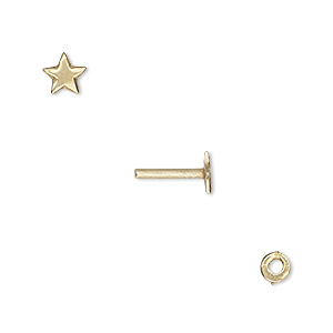 washer and brad, gold-plated brass, 4x0.7mm and 10x5.5mm with 5.5x5mm star and 1.3mm post diameter. sold per pkg of (2) 2-piece sets.