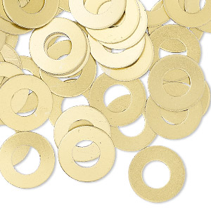 washer, anodized aluminum, gold, 13mm double-sided flat round blank with 6mm hole, 20 gauge. sold per pkg of 100.