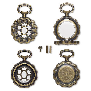 watch body, acrylic and antique brass-finished pewter (zinc-based alloy), transparent clear, 41x27mm with 27mm round and flower design. sold per 5-piece set.