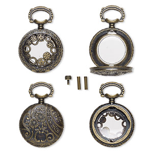 watch body, acrylic and antique brass-finished pewter (zinc-based alloy), transparent clear, 41x27mm with 27mm round and gear with floral design. sold per 5-piece set.