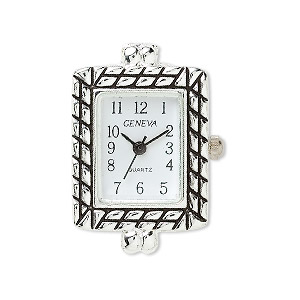 watch face, antique silver-plated brass / steel / aluminum, white and black, 30x20mm rectangle with 2 loops. sold individually.