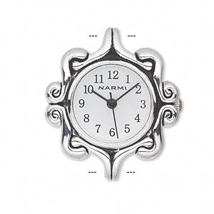 watch face, antique silver-plated brass / steel / aluminum, white and black, 31x27mm fancy square with 2 loops. sold individually.