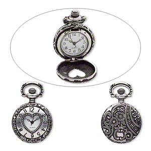watch face, antique silver-plated pewter (zinc-based alloy), white and black, 41x27mm pocket watch with numbers /  heart-shaped window / flower and swirl design. sold individually.