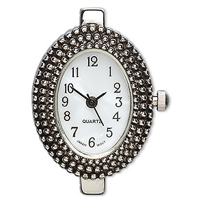 watch face, glass and silver-finished pewter (zinc-based alloy), 25x20mm oval with dotted design. sold individually.