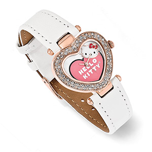 watch, hello kitty, mother-of-pearl shell (bleached) / crystal / imitation leather / stainless steel / rose gold-plated pewter (zinc-based alloy), multicolored, 16mm wide band with 29x26mm watch face and heart with hello kitty face design, 7 inches. sold individually.