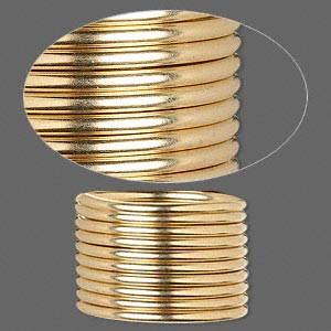wire, 12kt gold-filled, dead-soft, round, 12 gauge. sold per pkg of 5 feet.