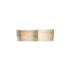 wire, 12kt gold-filled, dead-soft, round, 26 gauge. sold per pkg of 25 feet.