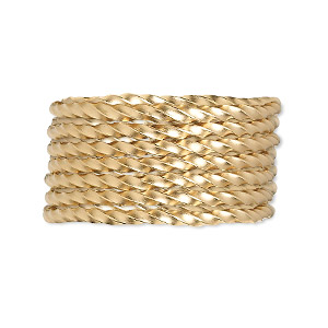 wire, 12kt gold-filled, dead-soft, twisted square, 14 gauge. sold per pkg of 5 feet.