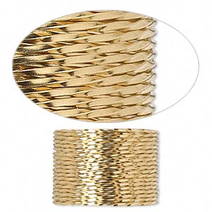 wire, 12kt gold-filled, dead-soft, twisted square, 20 gauge. sold per pkg of 5 feet.