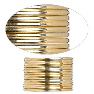wire, 12kt gold-filled, full-hard, half-round, 16 gauge. sold per pkg of 5 feet.