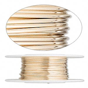 wire, 12kt gold-filled, full-hard, round, 22 gauge. sold per pkg of 25 feet.