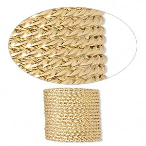 wire, 12kt gold-filled, full-hard, twisted round, 13.5 gauge. sold per pkg of 5 feet.