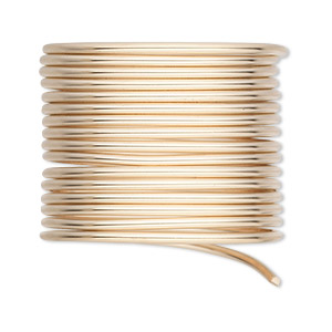 wire, 12kt gold-filled, half-hard, round, 14 gauge. sold per 5-foot pkg.