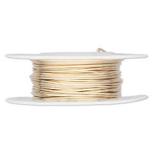 wire, 12kt gold-filled, half-hard, round, 20 gauge. sold per 25-foot spool.