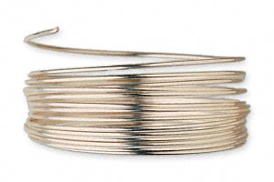 wire, 12kt gold-filled, half-hard, round, 21 gauge. sold per pkg of 5 feet.