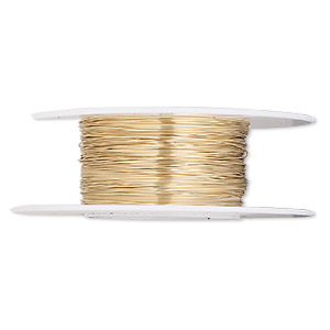 wire, 12kt gold-filled, half-hard, round, 28 gauge. sold per 1/4 ounce spool.