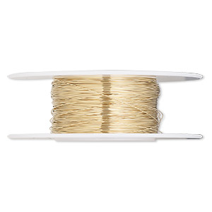 wire, 12kt gold-filled, half-hard, round, 32 gauge. sold per 1/4 ounce spool.