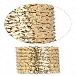 wire, 12kt gold-filled, half-hard, twisted round, 19 gauge. sold per pkg of 5 feet.