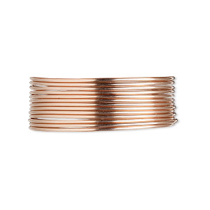 wire, 12kt rose gold-filled, dead-soft, round, 20 gauge. sold per pkg of 25 feet.