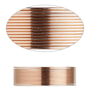 wire, 12kt rose gold-filled, dead-soft, round, 22 gauge. sold per pkg of 5 feet.