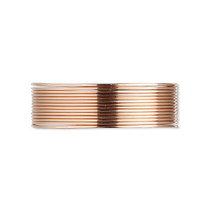 wire, 12kt rose gold-filled, half-hard, round, 22 gauge. sold per pkg of 25 feet.
