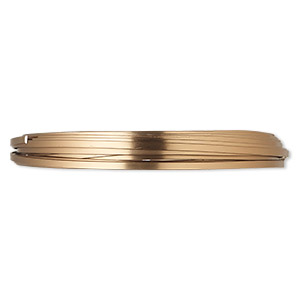 wire, anodized aluminum, brown, 4x1.2mm flat, 16 gauge. sold per pkg of 18 feet.
