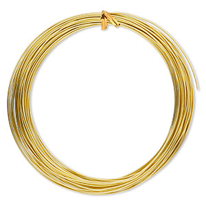 wire, anodized aluminum, gold, 1.25mm round, 16 gauge. sold per pkg of 45 feet.
