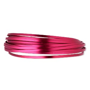 wire, anodized aluminum, magenta, 4x1.2mm flat, 16 gauge. sold per pkg of 18 feet.