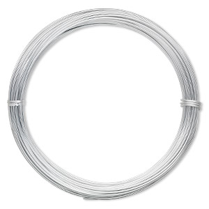 wire, anodized aluminum, silver, 1.25mm round, 16 gauge. sold per pkg of 45 feet.