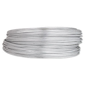 wire, anodized aluminum, silver, textured round with crosshatch pattern, 12 gauge. sold per pkg of 45 feet.