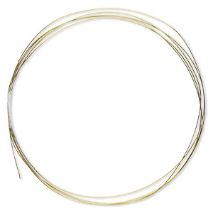 wire, anodized niobium, yellow, half-hard, round, 24 gauge. sold pkg of 5 feet.