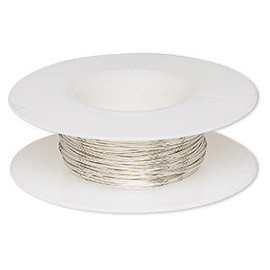 wire, argentium silver, dead-soft, round, 24 gauge. sold per pkg of 5 feet.
