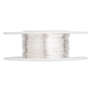 wire, argentium silver, dead-soft, round, 26 gauge. sold per pkg of 25 feet.