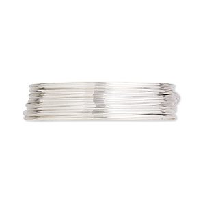 wire, argentium silver, full-hard, round, 22 gauge. sold per pkg of 25 feet.