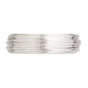wire, argentium silver, half-hard, round, 20 gauge. sold per pkg of 5 feet.