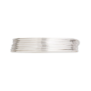 wire, argentium silver, half-hard, round, 22 gauge. sold per pkg of 5 feet.