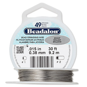 wire, beadalon, nylon and stainless steel, bright, 49 strand, 0.015-inch diameter. sold per 30-foot spool.