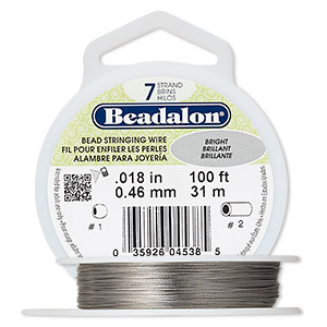 wire, beadalon, nylon and stainless steel, bright, 7 strand, 0.018-inch diameter. sold per 100-foot spool.